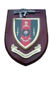 Royal Marines Commando Training Centre with Pewter SA80 Military Wall Plaque